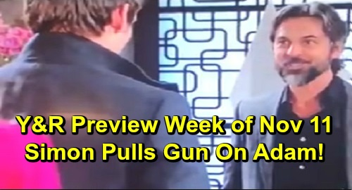 The Young and the Restless Spoilers: Preview Week November 11 – Simon Pulls Gun on Adam – Chance Pressures Amanda – Theo's Paris Job Offer