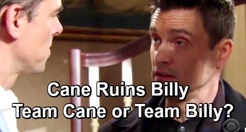 The Young and the Restless Spoilers: Cane Attacks Billy - Vows Revenge For Disclosing Kiss With Victoria to Lily