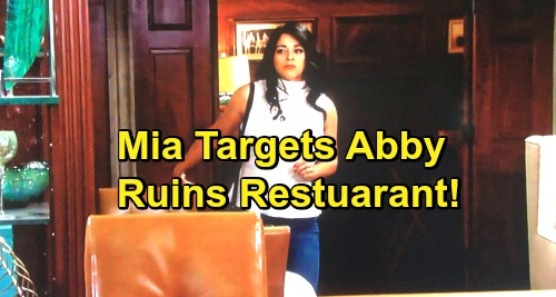The Young and the Restless Spoilers: Crazy Mia Sets Out To Ruin Abby's Restaurant - Sabotage Plan In The Works