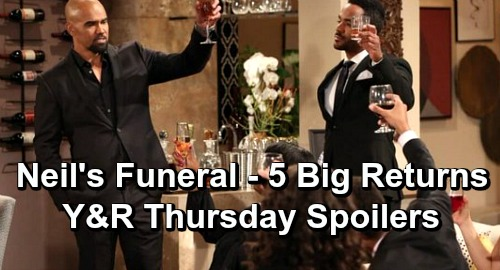 The Young and the Restless Spoilers: Thursday, April 25 – 5 Big Comebacks for Neil's Funeral – Distraught Devon Leans on Malcolm