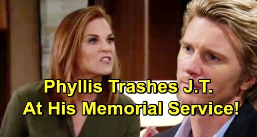 The Young and the Restless Spoilers: Phyllis Exposes J.T.'s Abuse At Memorial Service – Reed Has A Fit, Nick Lashes Out
