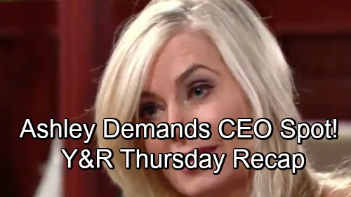 The Young and the Restless Spoilers: Thursday, October 25 – Ashley Demands CEO Spot – Billy and Victoria Reconnect – Lily's Bad News