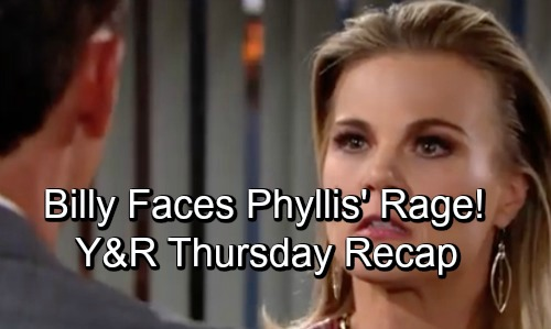 The Young and the Restless Spoilers: Thursday, October 18 – Billy Faces Phyllis' Fury – Kyle Ditches Lola for Summer – Nate Blasts Cane