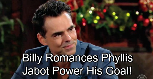 The Young and the Restless Spoilers: Billy Romances Phyllis With Jabot Power In Mind