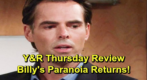 The Young and the Restless Spoilers: Thursday, November 7 Review - Billy's Paranoia Resurfaces - Theo Considers His Place In The Abbott Family
