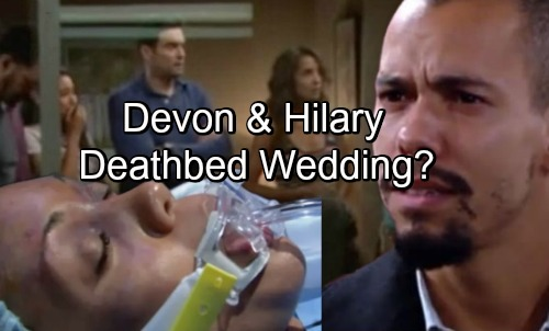 The Young and the Restless Spoilers: Devon and Hilary's Deathbed Wedding – Tragic Goodbye for 'Hevon'?