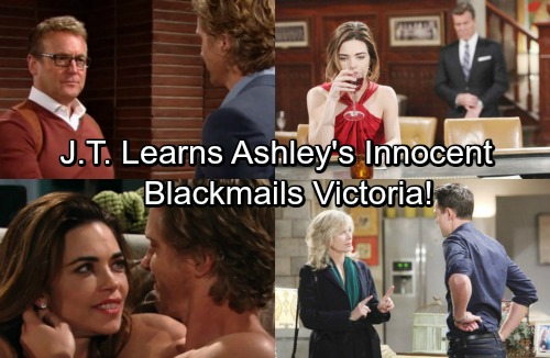 The Young and the Restless Spoilers: J.T. Discovers Ashley's Innocent - Blackmails Victoria