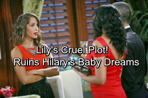 The Young and the Restless Spoilers: Lily Goes Ballistic Over Devon's Baby Plan – Plots Cruel Destruction of Hilary's Dreams