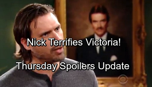 The Young and the Restless Spoilers: Thursday, April 19 Update – Nick Terrifies Victoria – Billy's Spy Mission - Nikki's The Boss