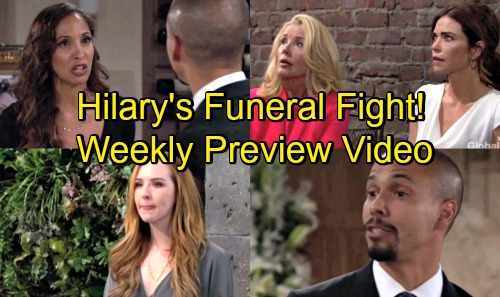 The Young and the Restless Spoilers: Week of July 30 Preview Video – Hilary's Funeral Fight – Mariah's Tearful Tribute