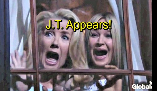 The Young and the Restless Spoilers: Sharon and Nikki Freak as J.T. Appears at the Window – Cover-up Crew Fears Vengeful Wrath