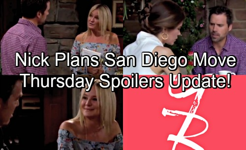 The Young and the Restless Spoilers: Thursday, May 31 Update – Nick Plans San Diego Move with Sharon – Jack Faces Another Blow