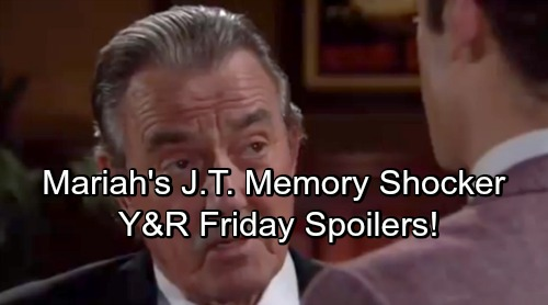 The Young and the Restless Spoilers: Friday, May 4 – Mariah's Memory Brings J.T. Trouble – Victor Challenges Kyle to Spill