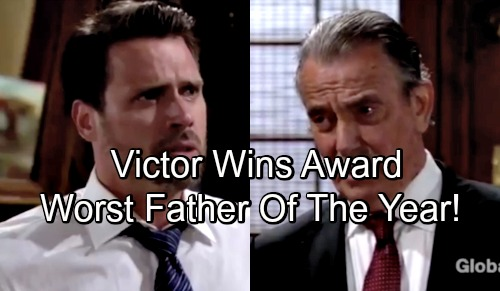 The Young and the Restless Spoilers: Victor Wins Worst Father of the Year Award – Nick Plots The Moustache's Downfall